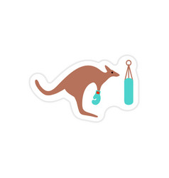Stylish paper sticker on white background kangaroo vector