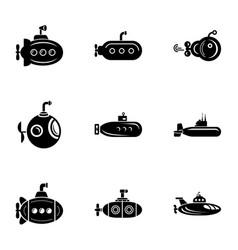 Submarine cruiser icons set simple style vector