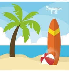 Summer design palm tree and surf table icon vector image