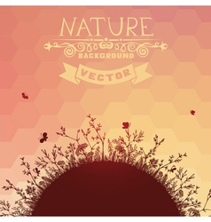 Sunset nature background vector
