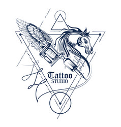 Tattoo Art Design Of Horse Line Style Vector Image