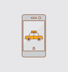 Taxi application on mobile phone vector