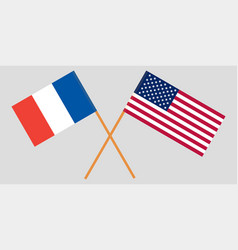 The french and united states flags crossed vector