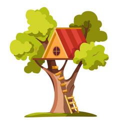 Treehouse on backyard house on tree hut vector