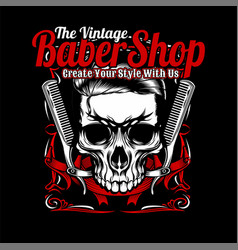 vintage barber shopskull and comb hand vector image