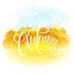 Watercolor autumn landscape vector