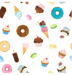 watercolor sweets pattern vector image