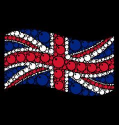 Waving united kingdom flag mosaic of sphere items vector