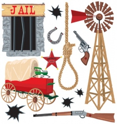 Wild west clip art icons vector