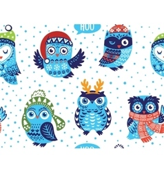 winter seamless pattern with cute owls in vector image
