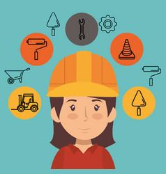 woman builder character working vector image