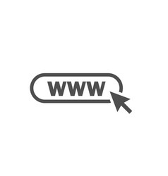 www icon web site icon www icon with hand cursor vector image