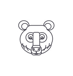 bear head line icon sign on vector image