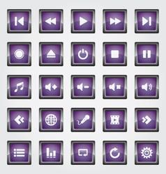 Media Button purple vector image vector image