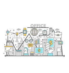 Office concept in flat linear vector