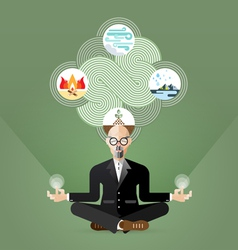 Old Businessman Yoga and zen meditating vector image vector image