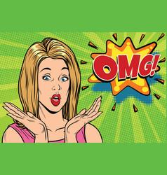 omg pop art kitsch woman vector image vector image
