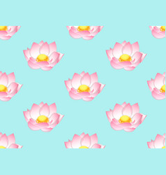 pink indian lotus on light blue background vector image