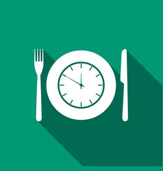 plate with clock fork and knife icon lunch time vector image