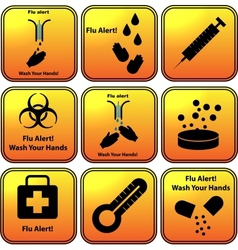 Set of flu alert icons vector image