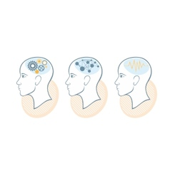 Silhouette of head brain and pulses vector image