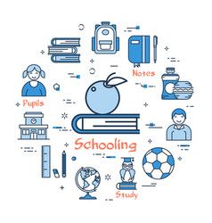 blue round schooling concept vector image