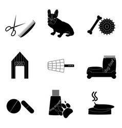 black silhouette icons set pet care vector image