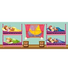 Children sleeping in bunkbed vector image vector image