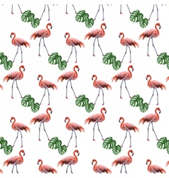 Flamingo birds and palm leaves pattern vector image
