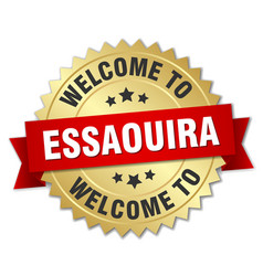 essaouira 3d gold badge with red ribbon vector image