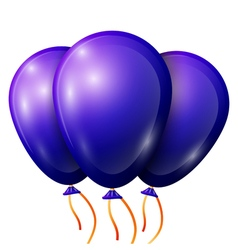 Realistic blue balloons with ribbon isolated on vector image