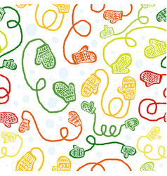 seamless pattern with cute colorful gloves vector image vector image