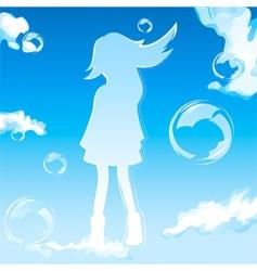 sky girl vector image