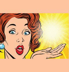 surprise face pop art woman vector image vector image