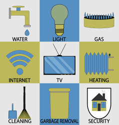 Utilities household services icon set modern vector image vector image