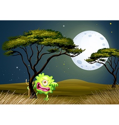 A scared one-eyed monster under the fullmoon vector