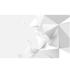 abstract white 3d low polygonal background vector image