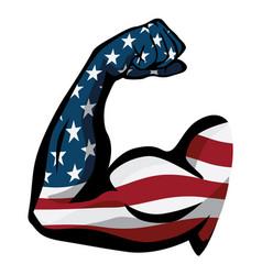 American pride usa flag arm flex vector