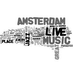 Amsterdam live music hotspots text word cloud vector