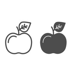 apple line and glyph icon fruit vector image