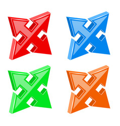 Arrows set multi directional combo vector
