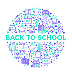 back to school concept in circle with line icons vector image