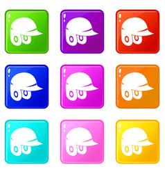 Baseball helmet icons 9 set vector