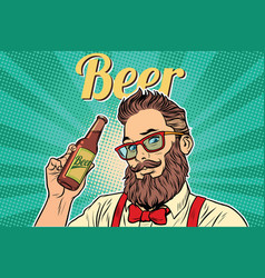 Bearded hipster beer vector