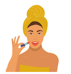 beautiful woman in yellow towel holding lipstick vector image