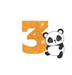 birthday anniversary number with cute panda vector image