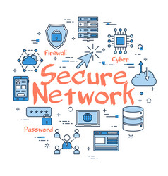 Blue round secure network concept vector
