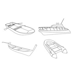 boat speedboat pirogue raft and boat icon vector image