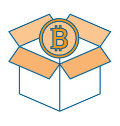 box carton with bitcoin isolated icon vector image vector image