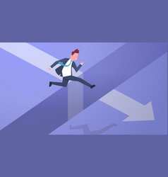 Business risk concept with businessman jumping vector